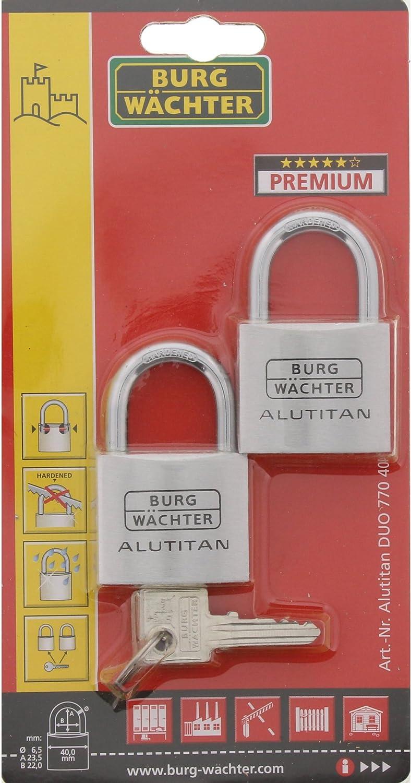 6,5 mm dEpaisseur de Anse BURG-W/ÄCHTER 4 Cl/és DUO 770 40 SB Cadenas /à Cylindre Lot de 2 Pi/èces