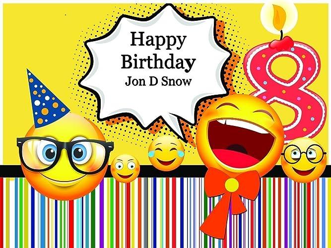 Amazon.com: Custom Home Decor Number Candle and Nerd Emojis Birthday ...