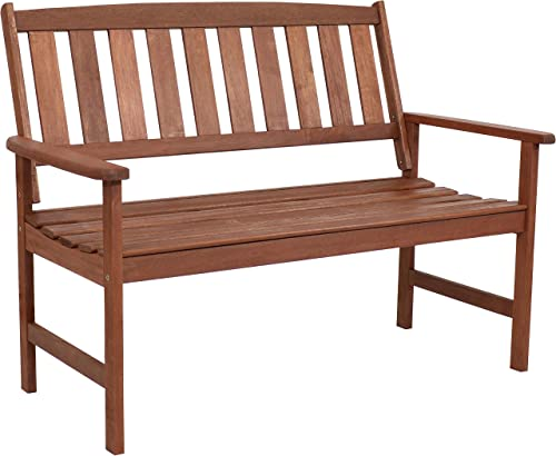 Sunnydaze Meranti Wood 2-Seat Outdoor Bench with Teak Oil Finish – Modern Rustic Yard Furniture – Comfortable Outdoor Seating – Perfect for The Front Porch, Patio, Deck, Balcony or Backyard