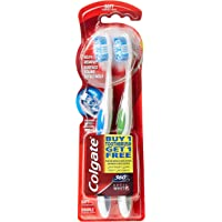Colgate Toothbrush 360 Optic White Soft, 2 Value Pack, Assorted Color