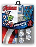 All New Fabric Marvel Shower Curtain Set with 12 Matching Hooks (Avengers)
