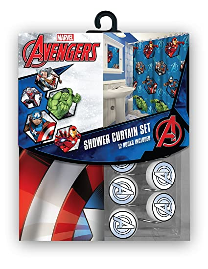 All New Fabric Marvel Shower Curtain Set With 12 Matching Hooks Avengers