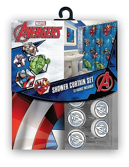 Merveilleux All New Fabric Marvel Shower Curtain Set With 12 Matching Hooks (Avengers)