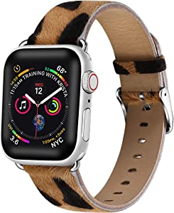 Compatible with Apple Watch Band 38mm 40mm , Libra Gemini Pony Hair Leather Replacement Band Compatible with Apple Watch Series 6/5/4/3/2/1 (38mm/40mm)