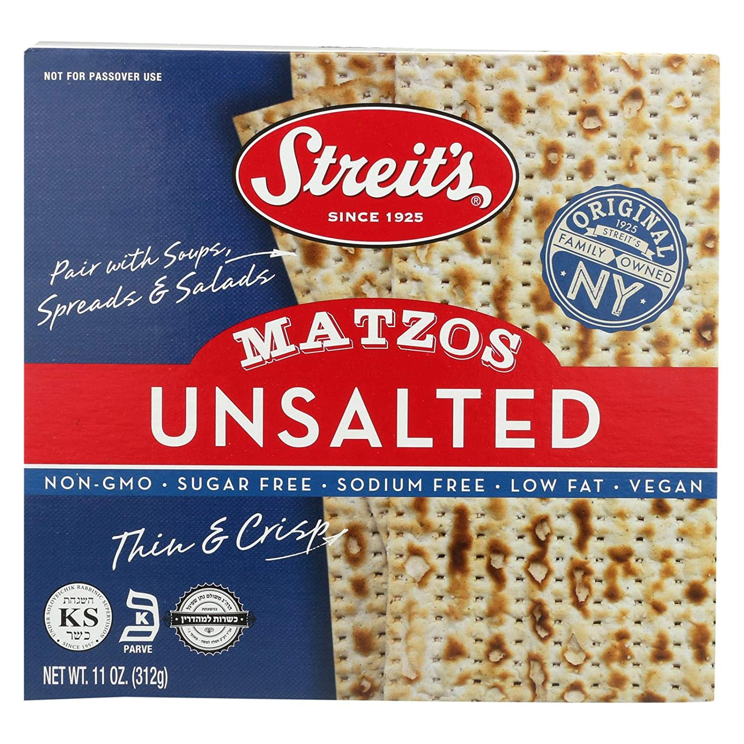 Streit's Unsalted Matzo, 11 Ounce (12 -Pack Total of 132 Oz)