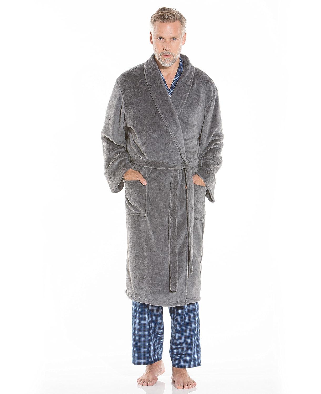 Savile Row Men\'s Grey Fleece Dressing Gown: Amazon.co.uk: Clothing