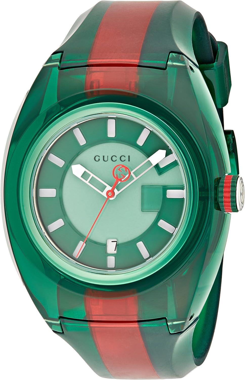 Gucci Reloj Análogo clásico para Unisex de Cuarzo con Correa en Caucho YA137113