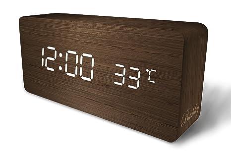 Bashley Reloj Despertador Digital,Cubo Ajustable Tiempo en Forma de Madera Control de Temperatura y