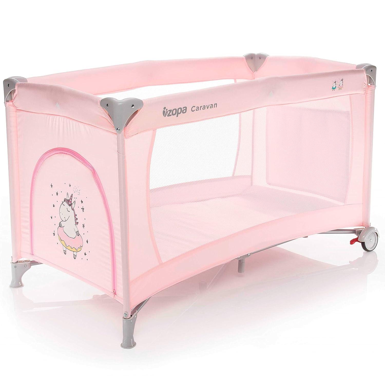 Reisebettmatratze ZOPA Kinderreisebett Caravan klappbarer Kinderreisebett mit R/ädern mit Schlupfloch und praktischer Ablagetasche inkl 120 x 60 cm Baby Beige