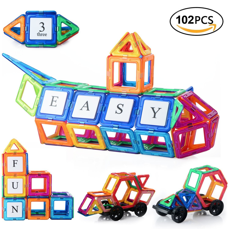 Magnetische Bausteine Für Kinder, 102 Stück Bausteine Regenbogenset Lernspielzeug Tolles Geschenke für Baby Kleinkinder ab 3 Jahre (106 Stück)