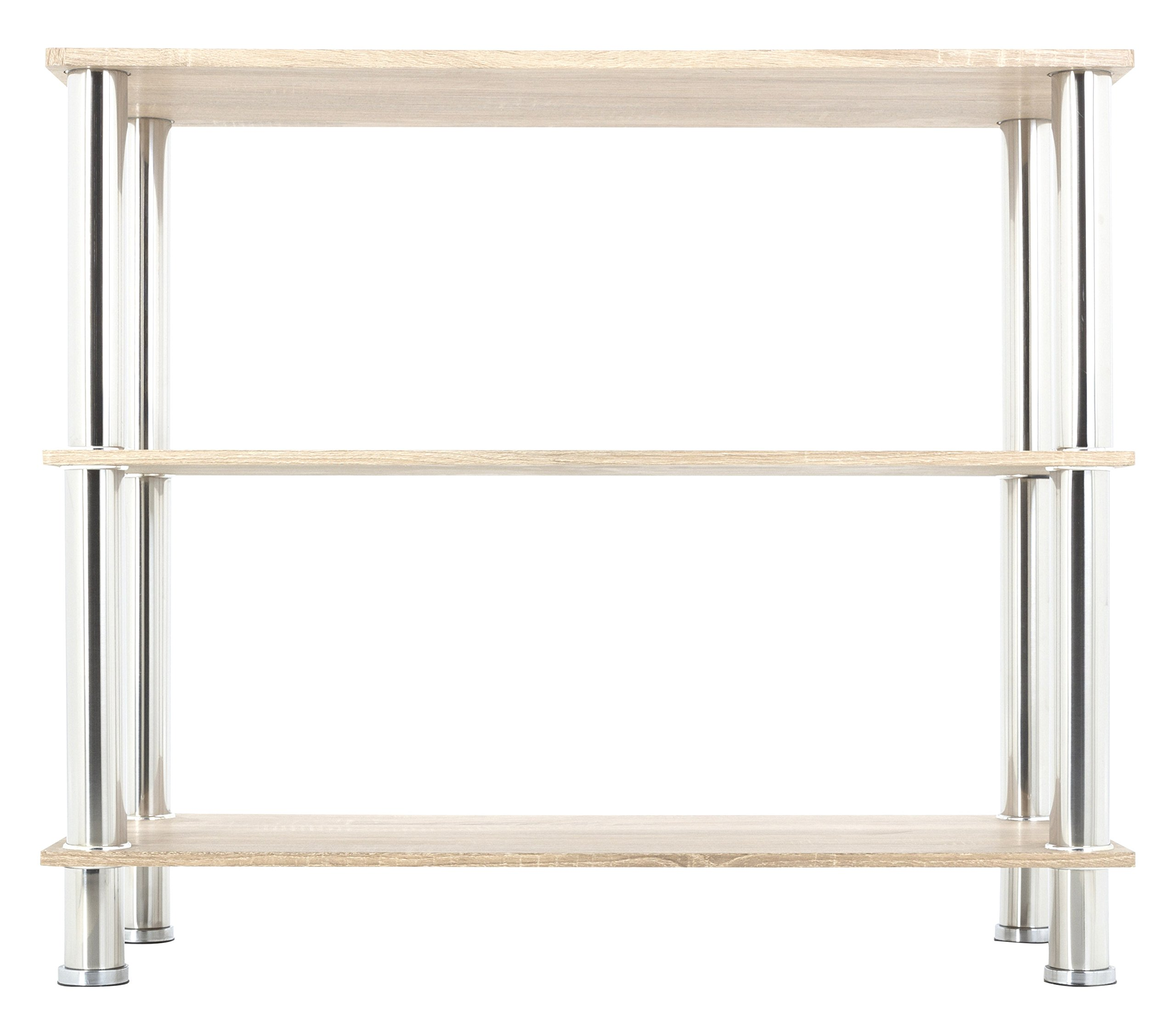 "AVF Wide 3 Tier Shelving unit in Whitewashed Oak & Chrome - Features chrome legs and whitewashed oak shelves Assembled product dimensions (W x D x H): 35.4 x 14.1 x 29.9"" Shelf dimensions (W x D): 35.4 x 14.1"" each - tv-stands, living-room-furniture, living-room - 81%2BGQ%2BLRNWL -"