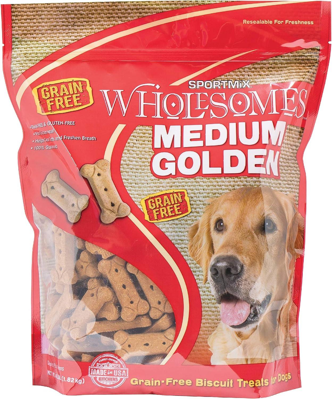 Sportmix Wholesomes Medium Golden Grain Free Dog Treats, 4 Lb.