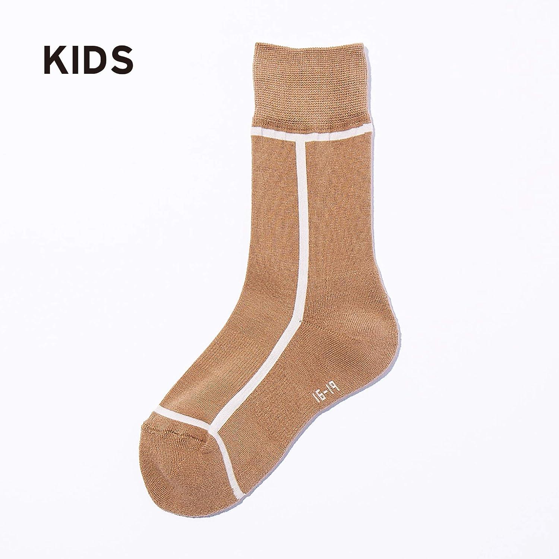 <公式>シックストックス キッズ ベビーソックス KIDS BABY 日本製 靴下 CHICSTOCKS (CH-002/05×01 Kurumi×Off White, 16-19cm)