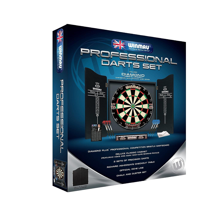 Winmau Professional Complete Dart Set With Diamond Dartboard, 2 x Sets of Darts and Black Classic Cabinet - NEW RANGE 5003