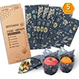 Beeswax Wrap Assorted 5 Packs, Eco Friendly Reusable Food Wraps, Sustainable Plastic Free Food Storage- 1 Small, 3 Medium, 1 Large- Say Goodbye to Plastic