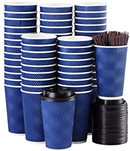 Disposable Coffee Cups with Lids and Straws - 16 oz (90 Set) Togo Hot Paper Coffee Cup with Lid To Go for Beverages Espresso Tea Insulated Reusable Cold Drinks Ripple Cups Protect Fingers From Heat!