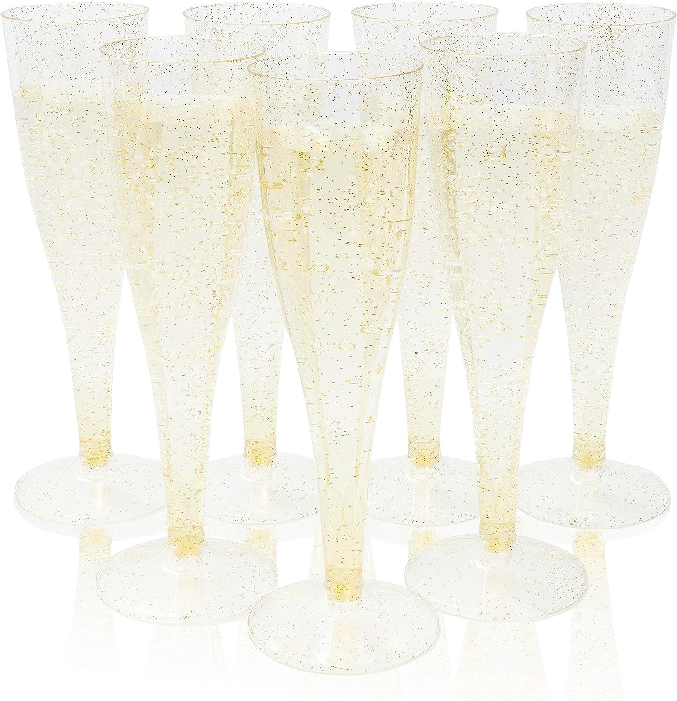 f/ête de mariage mariage Nouvel An dor/é Fl/ûtes /à champagne en plastique jetables transparentes 11,4 g Design paillettes dor/ées pour f/ête danniversaire No/ël