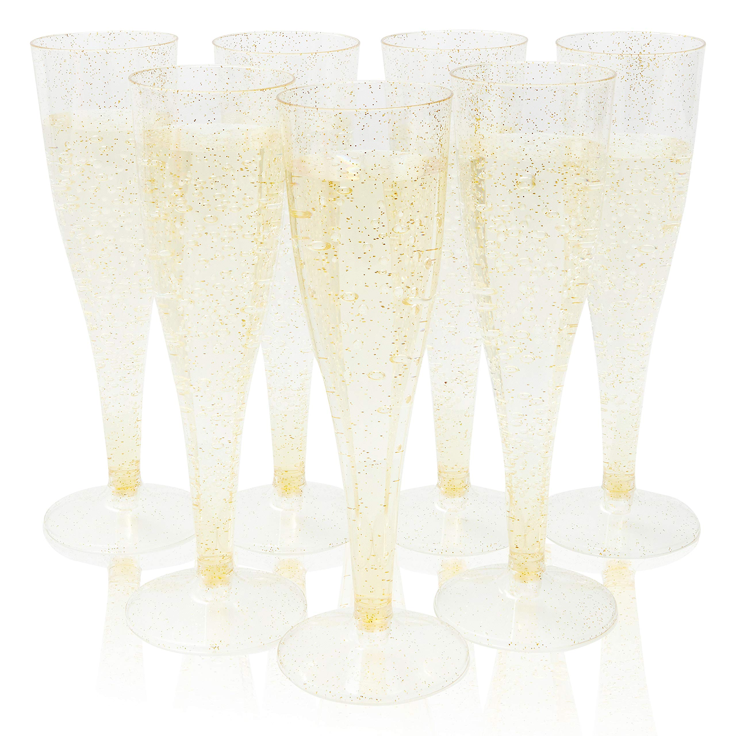Plastic Champagne Flutes - 100-Pack 4.4oz Gold Glitter Disposable Champagne Glasses, Gold Plastic Flutes for Wedding, Bachelorette Party, Bridal Shower, Birthday Party Supplies, 4.4 Ounces by Juvale