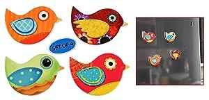 "HOME-X Ceramic Bird Refrigerator or Whiteboard Magnets, Office Fridge Dry Erase Board Stainless Steel Door Freezer, Locker- 4 pcs- 3 1/8"" L x 2 1/4"" W"