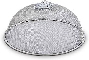 Arthur Court Stainless Steel Mesh Picnic Food Cover Protectors For Bugs, Parties Picnics, BBQs/Cast Aluminum Oak Leaf Acorn Pattern Knob 10.5 inch Diameter x 5 inch Tall