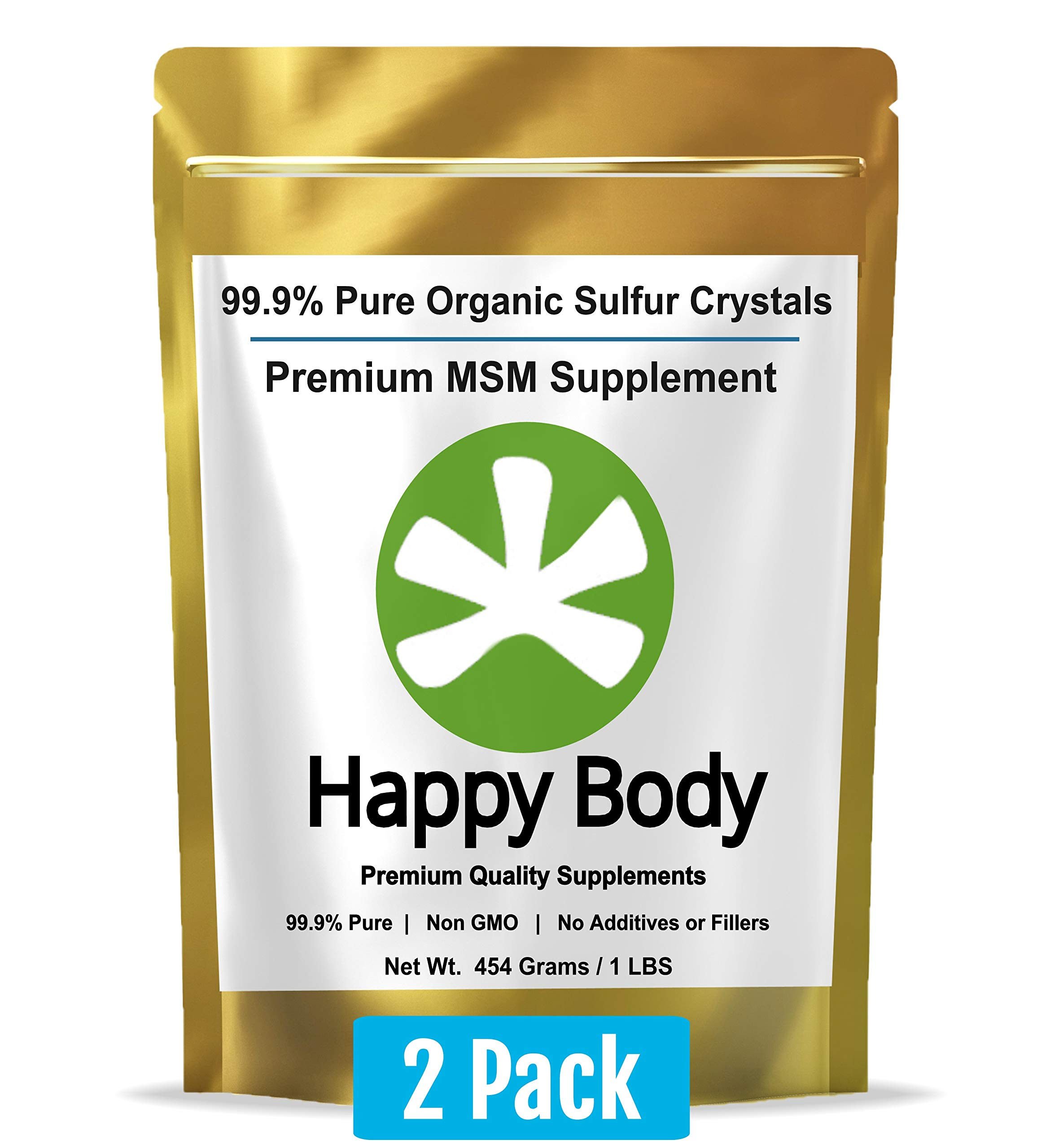 Organic Sulfur Crystals - 99.9% Pure MSM Crystals, Premium MSM Supplement - 2 x 1 LBS Pack