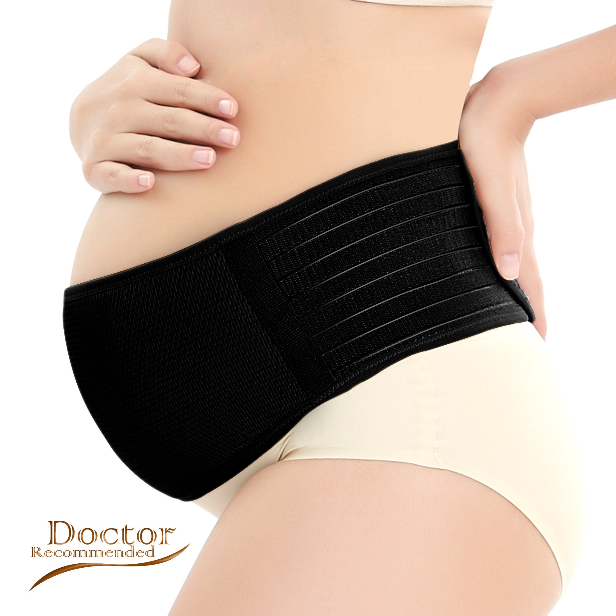Vikes Maternity Support Belt- Breathable Pregnancy Belly Band Abdominal Binder- Adjustable Back/Pelvic Support- One Size