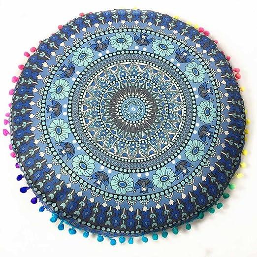 Funda para cojines redondos para el suelo de HKFV con Mandala hindú y diseño bohemio., Pattern G, 43*43cm