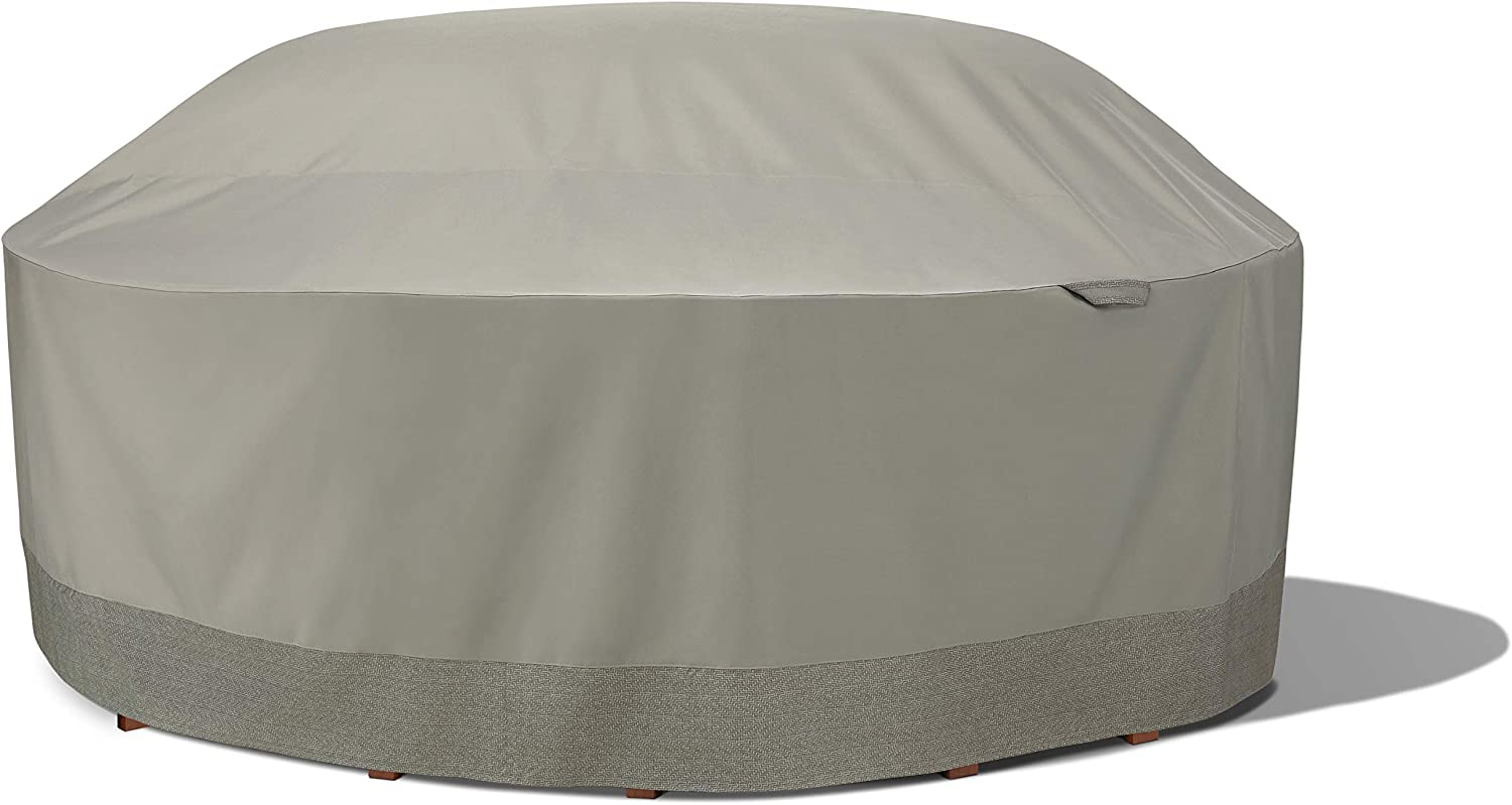 Duck Covers WTR108108 Weekend Water-Resistant 106 Inch Round Integrated Duck Dome, Moon Rock Outdoor Table & Chair Cover
