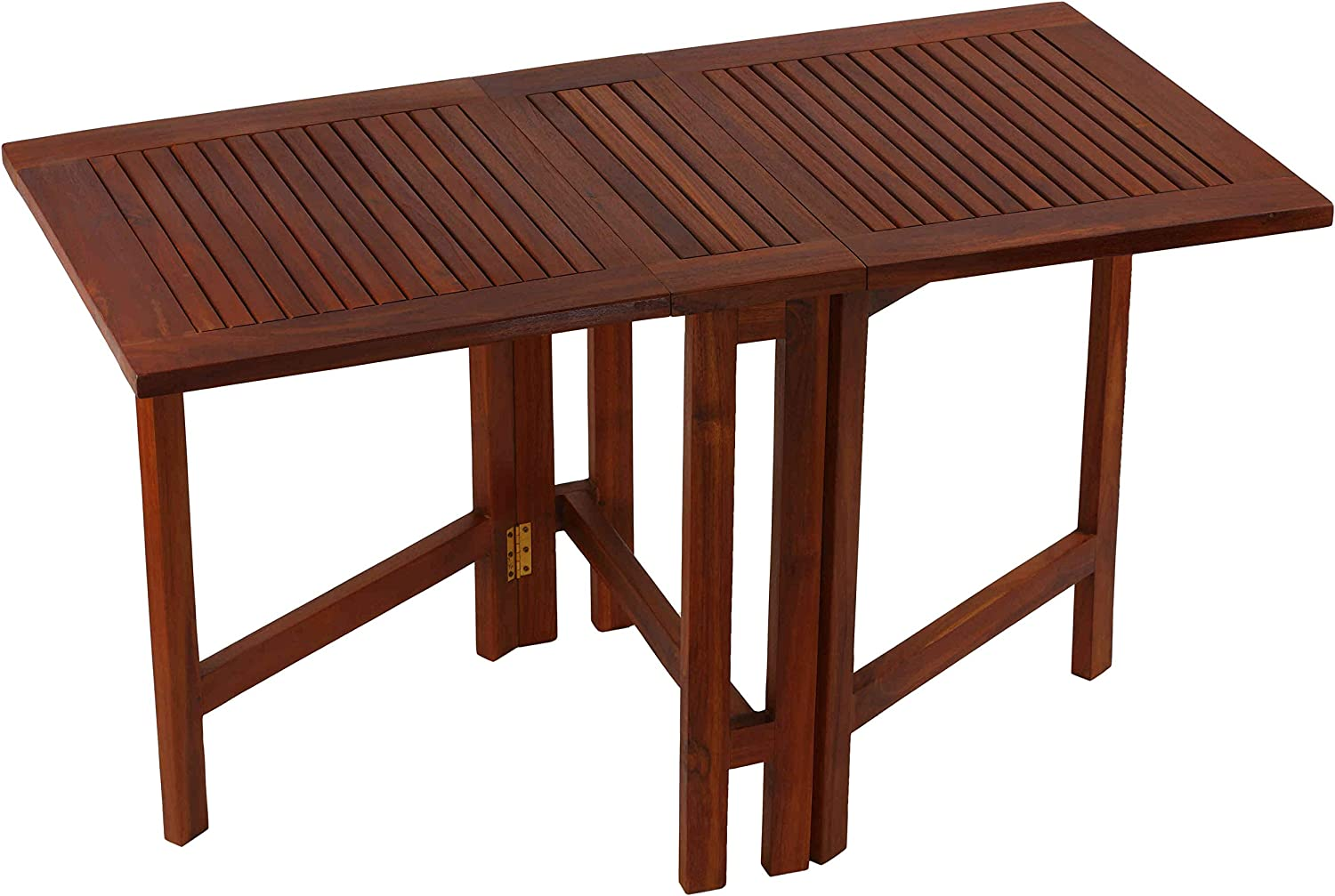 "Bare Decor Emery Double Leaf Butterfly Folding Dining Table, 51.25"" Wide, Brown"