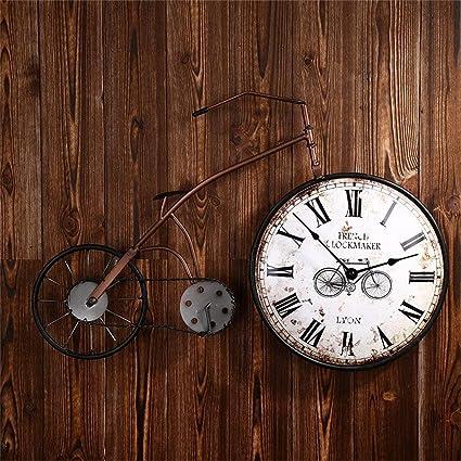 Relojes Retro Creativo Mode Reloj de pared plancha bicicleta tipo, moderno Roman Digital Reloj de