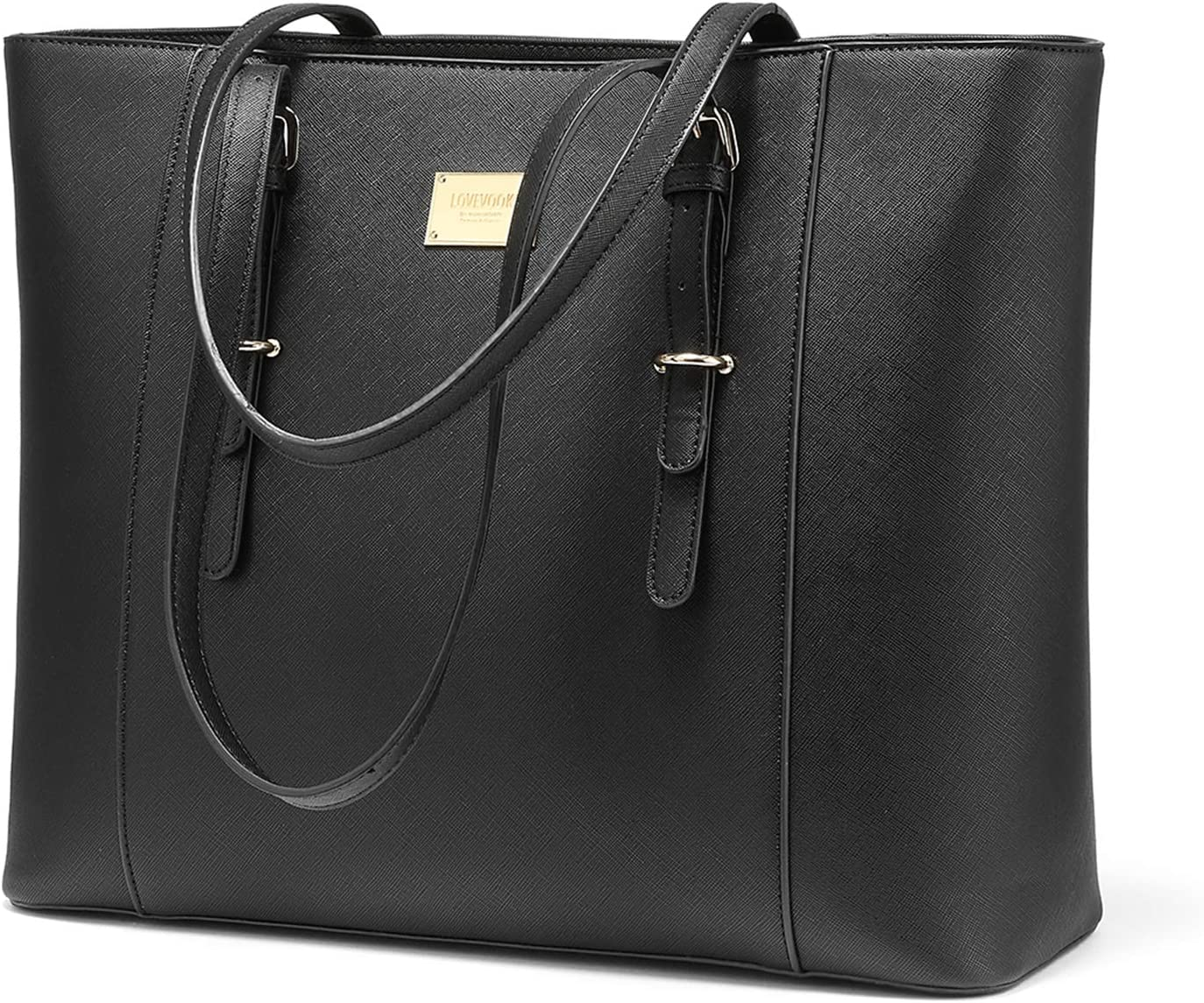 Laptop Bag for Women Large Office Handbags Briefcase Fits Up to 15.6 inch (Updated Version)-Black