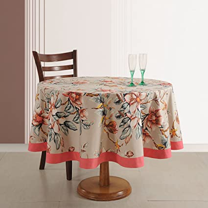 Indian Décoration Cotton Floral Print 70 Inches Round Tablecloth 4 Seater