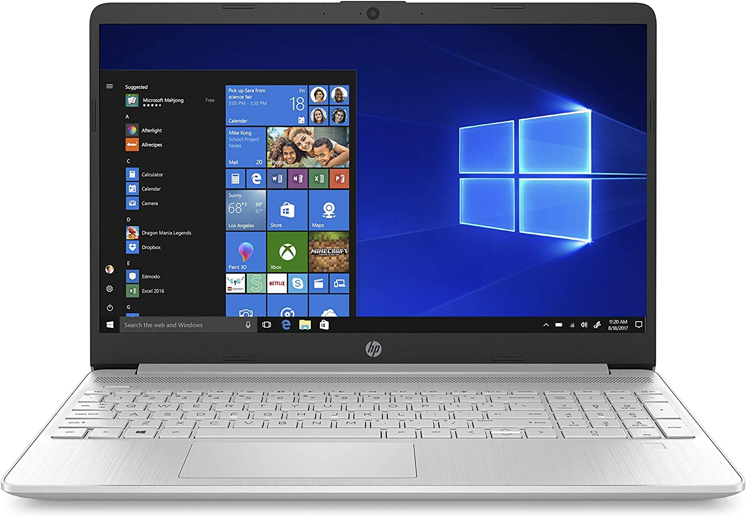 HP 15-Inch HD Touchscreen Laptop, 10th Gen Intel Core i3-1005G1, 4 GB SDRAM, 128 GB Solid-State Drive, Windows 10 Home in S Mode (15-dy1010nr, Natural Silver), 15-15.99 inches (Renewed)