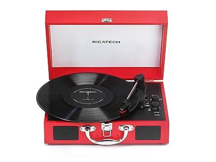 Ricatech RTT21 Tocadiscos, reproductor de discos portátil liviano con altavoces, tres velocidades, soporta salida RCA, Bluetooth, conector para ...