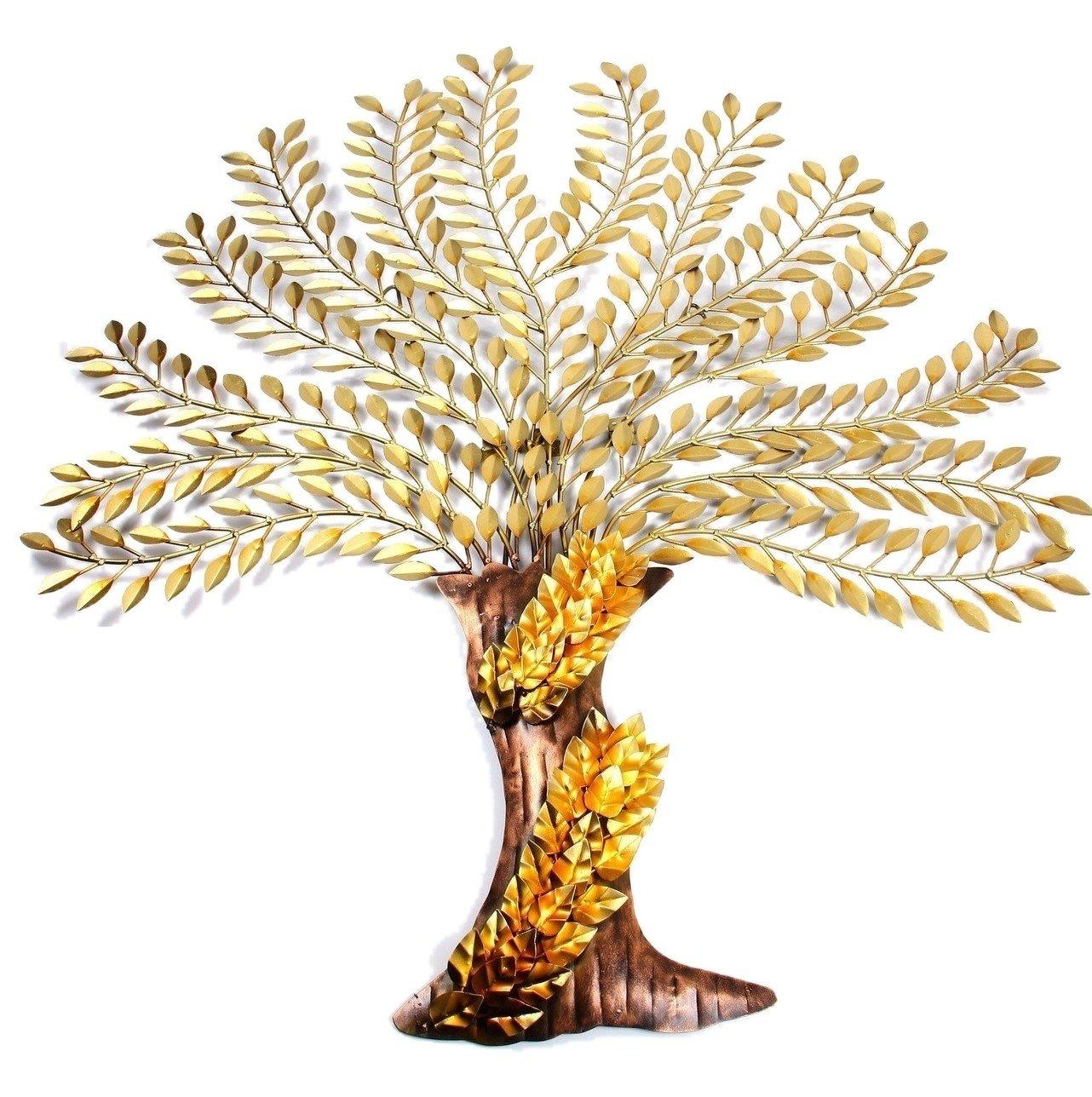 Buy Mohan Jodero Elegant Iron Metal Art Golden Brownish Tree of ...