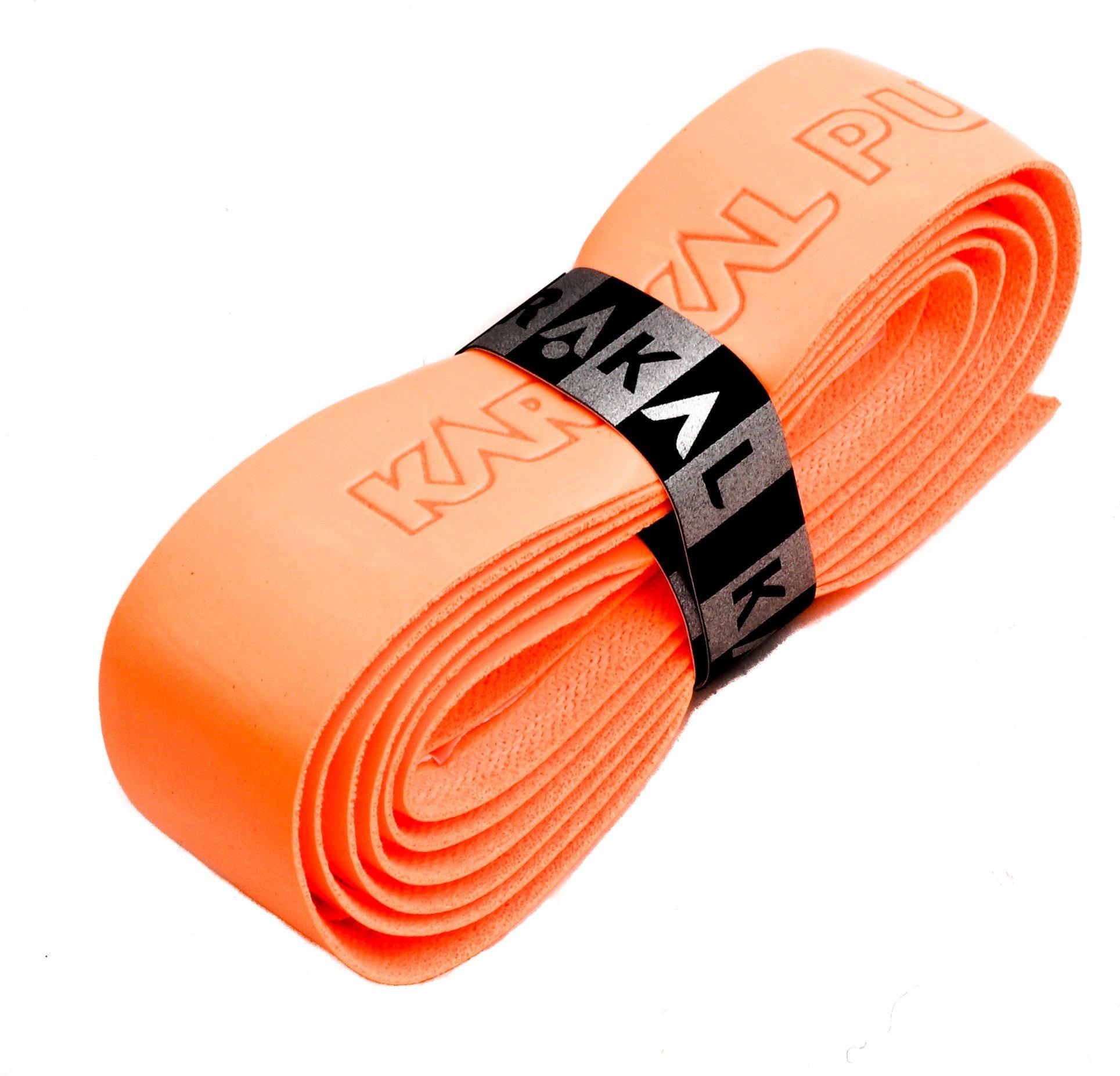Karakal PU Supergrip replacement racquet grip - tennis / badminton / squash - fluorescent orange x 6 by Karakal