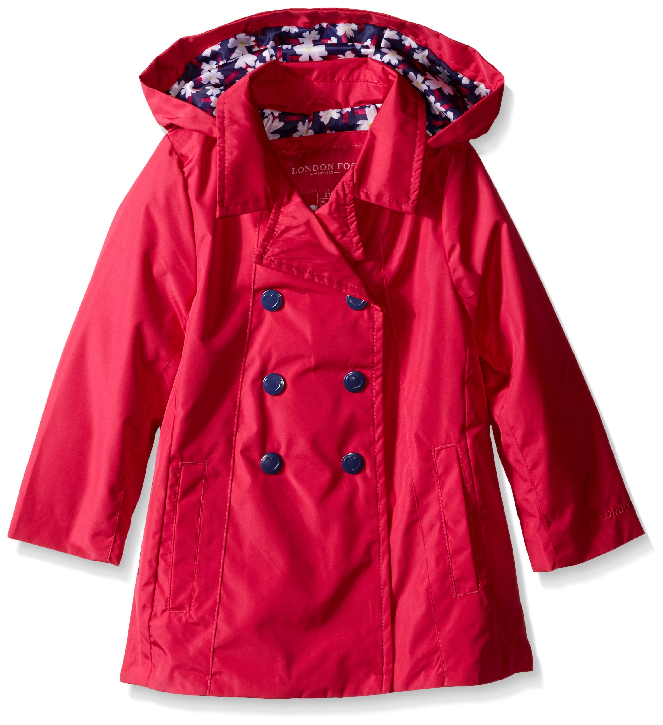London Fog Girls Enhanced Radiance Solid Trench Coat Fuchsia Toddler Girls 2T 6