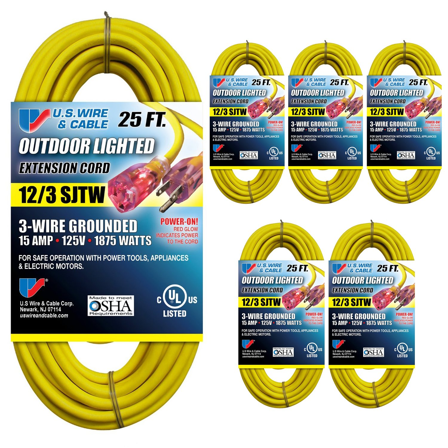 US Wire 74025 12/3 25-Foot SJTW Yellow Heavy Duty Lighted Plug Extension Cord (6-pack) by US Wire and Cable
