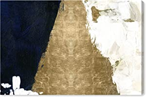 """The Oliver Gal Artist Co. Abstract Wall Art Canvas Prints 'Night and Day' Home Décor, 30"""" x 20"""", Black, Gold"""