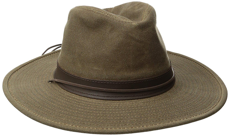 Henschel Walker Distressed Waxed Cotton with Leather Band Khaki Large [並行輸入品] B075CJZ1LN