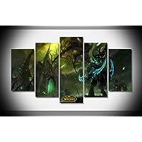 Canvastyle 5PCS World of Warcraft Artwork Allungato e incorniciato Modern Canvas Wall Art