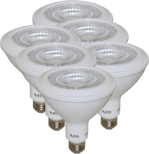 SleekLighting PAR 38, LED 13 Watt, Dimmable Wide Flood Light Bulb 40 , Warm White 3000K , 950 Lumens, E26 Medium Base, 100 Watt Equivalent, UL Approved Pack of 6