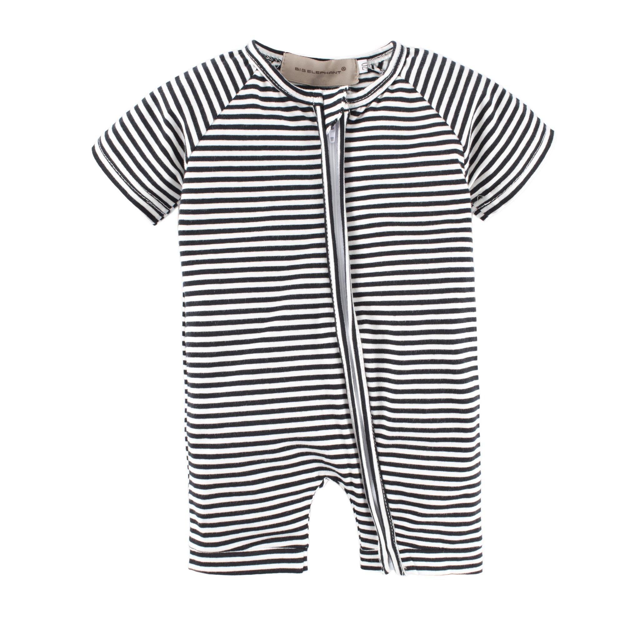 BIG ELEPHANT Baby Boys'1 Piece Stripe Zipper Closure Short Sleeve Romper Pajama Style A L14-66 3-6 Months