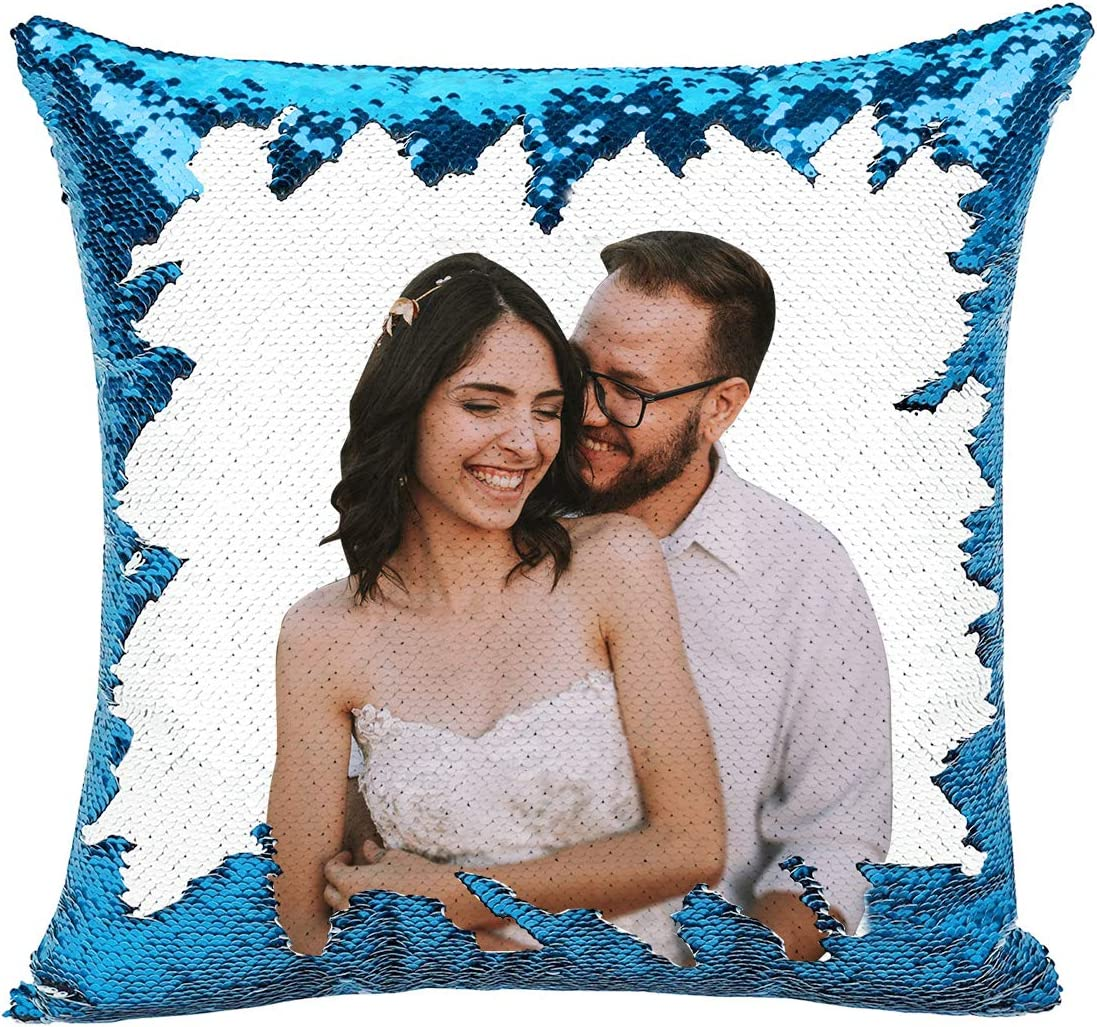 COCYBER Custom Pillow, Personalized Custom Photo Sequin Pillow Comes with Stuffing Included – Magic Reversible Home Decor Personalized Gifts Sky Blue