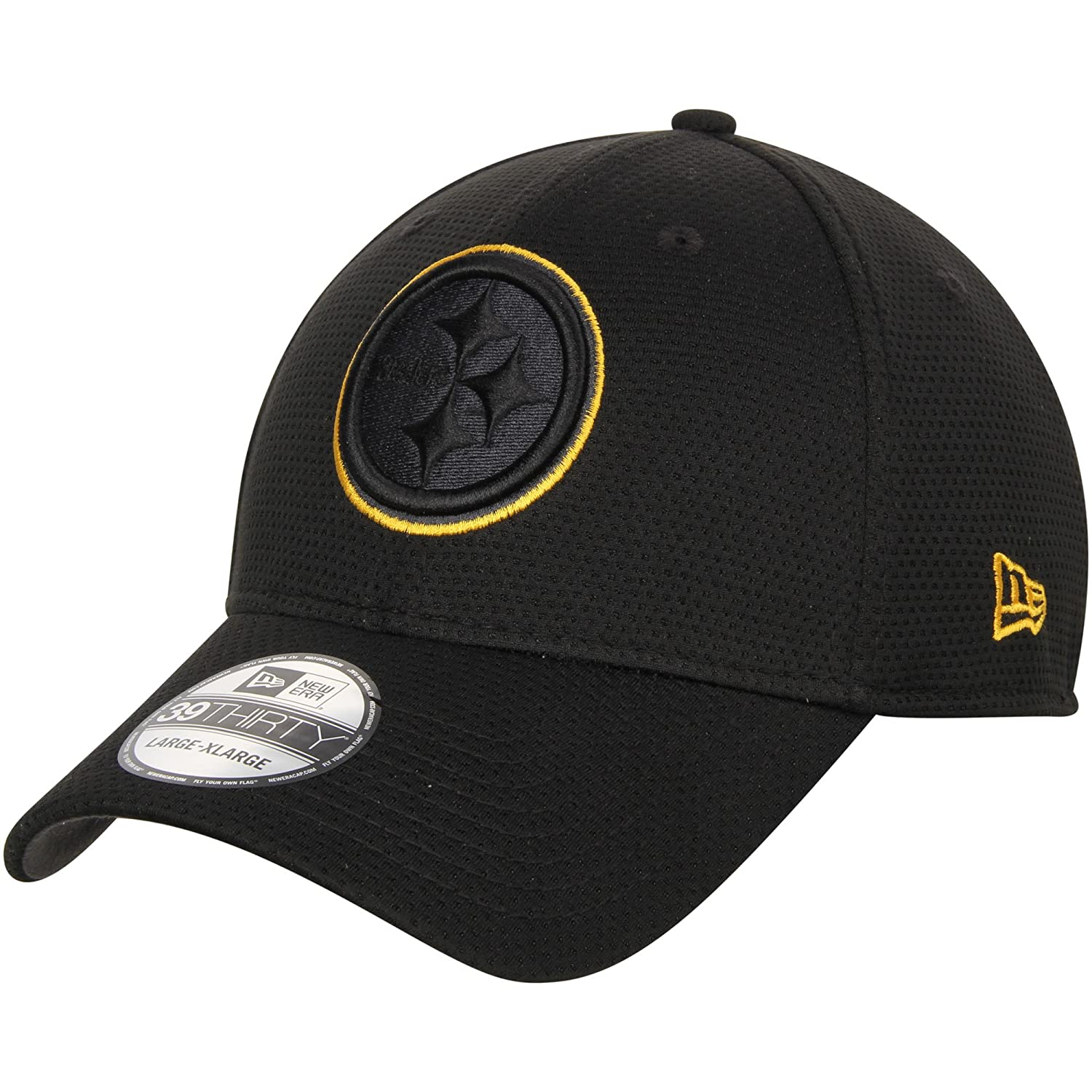 Amazon.com  New Era Authentic Pittsburgh Steelers NFL 39THIRTY Black Tone  Tech Flex Fit Hat  Sports   Outdoors 5484eb64e