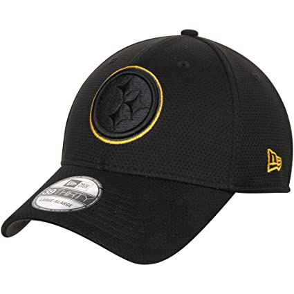 New Era Authentic Pittsburgh Steelers NFL 39THIRTY Black Tone Tech Flex Fit  Hat (S  96f56a54e