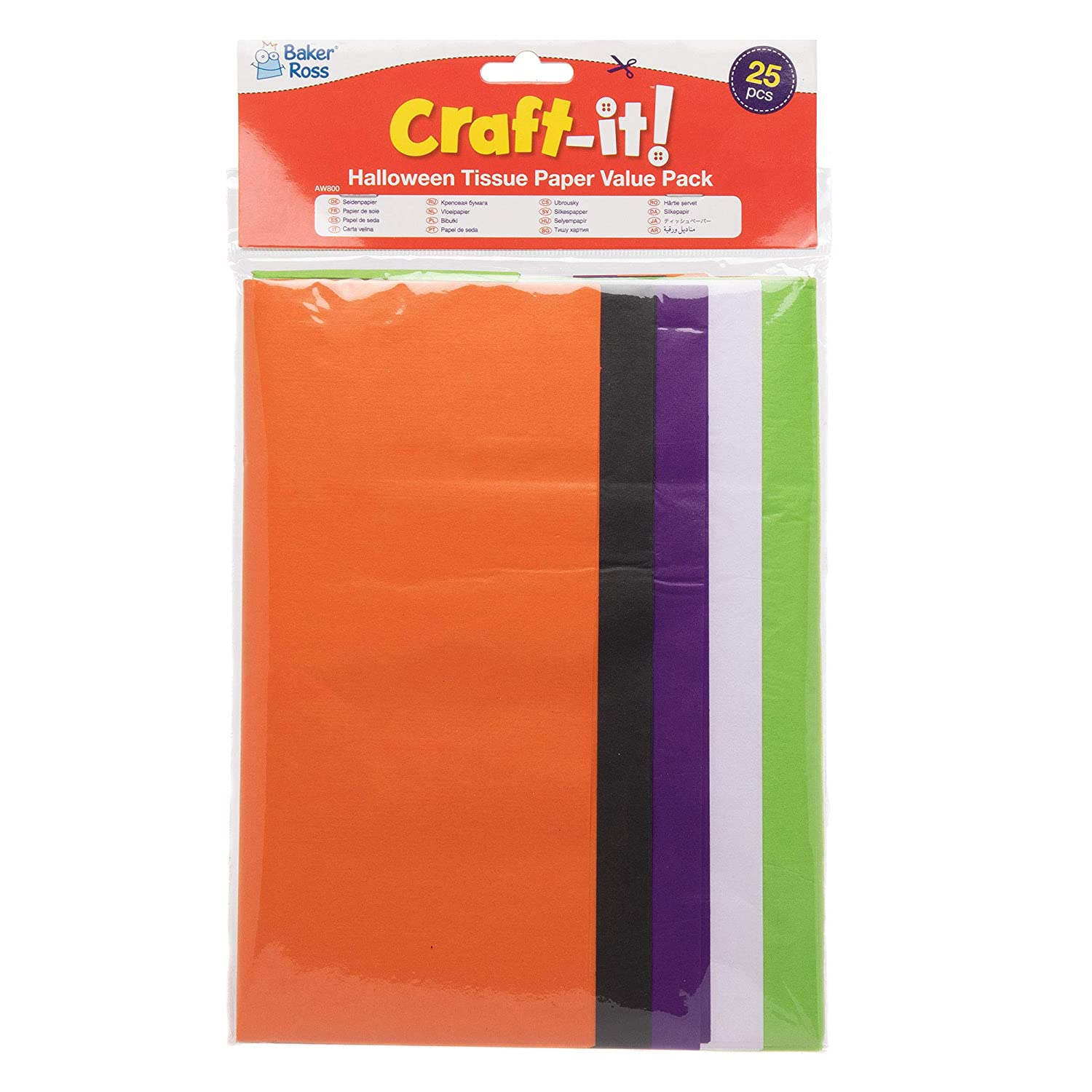 Pack for Decorating and Arts and Crafts Activities for Kids Pack Of 25 Assorted Baker Ross AW800 Halloween Tissue Paper Spooky Colors Craft Paper