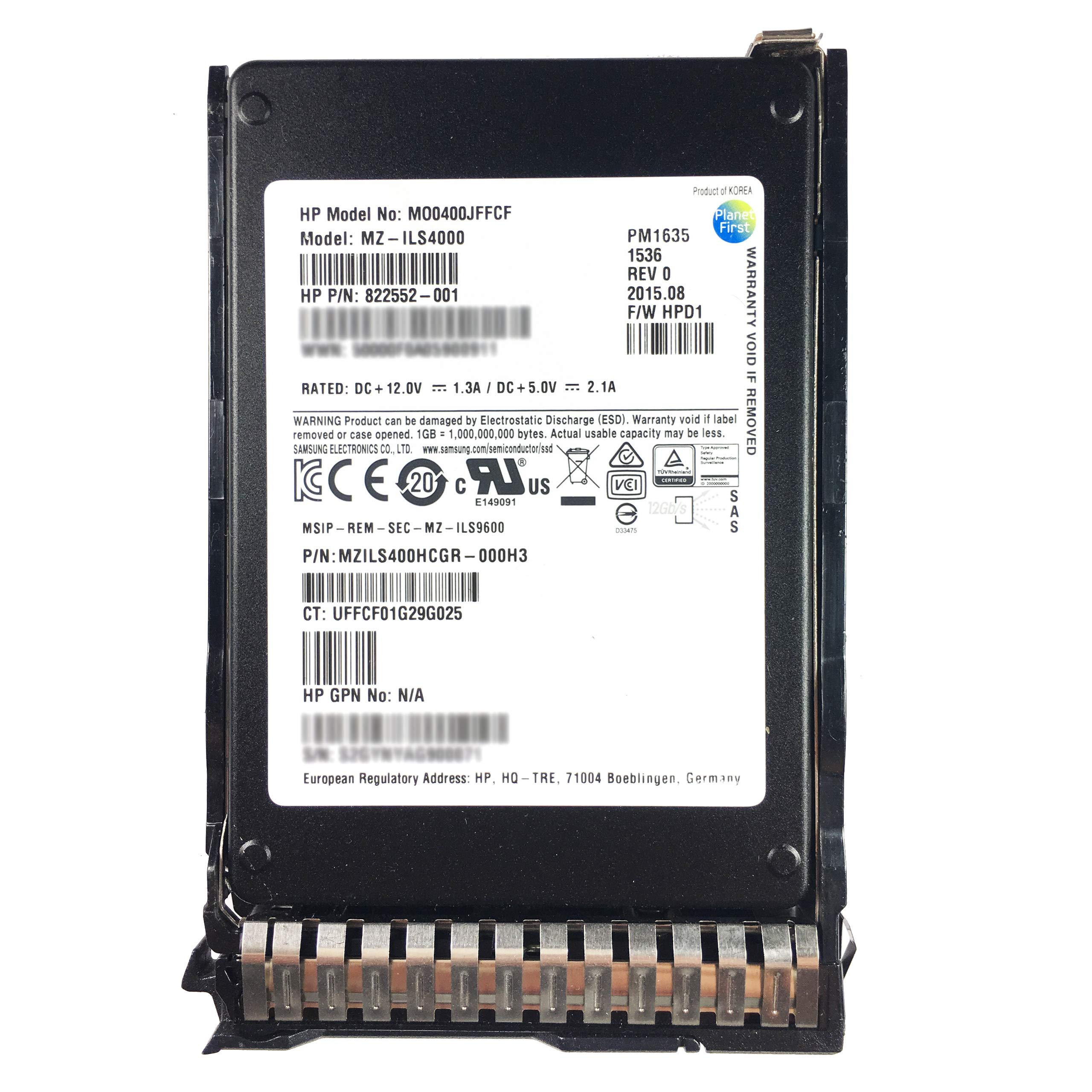HPE 400GB MO0400JFFCF 822552-001 MZILS400HCGR-000H3 HPD1 SAS 2.5'' SFF by Hpe