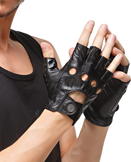 Vintage style Leather cycling gloves Italia