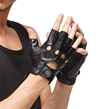 0ce9b266f Nappaglo Men's Leather Driving Gloves Italian Lambskin Half Finger  Fingerless Unlined Gloves for Motorcycle Cycling Riding